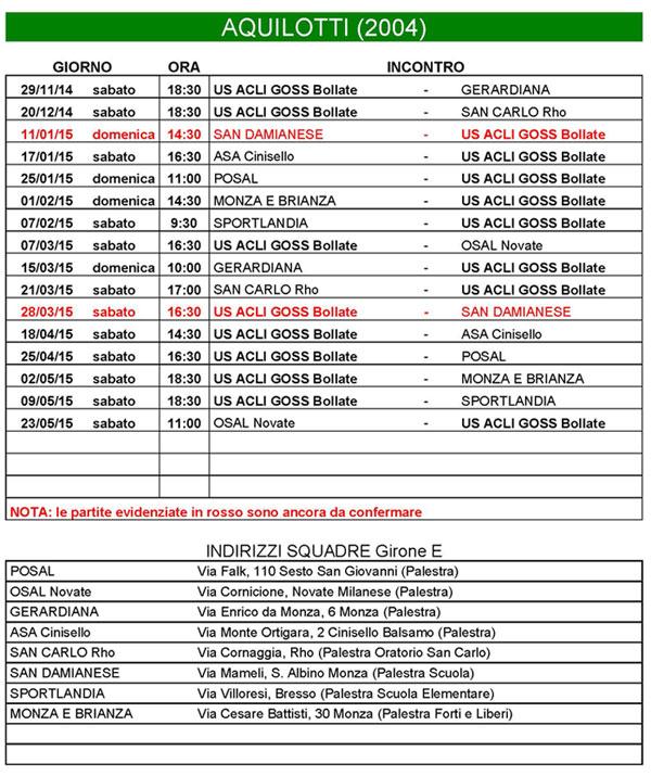 Calendario Aquilotti 2004 per l'anno 2014-2015  Print Page